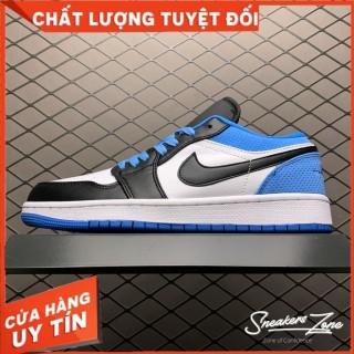 (FREESHIP+HỘP+QUÀ) Giày Thể Thao AIR JORDAN 1 Low Laser Blue (GS) đen Trắng Gót Xanh Dương Cổ Thấp Cực Phong Cách thumbnail