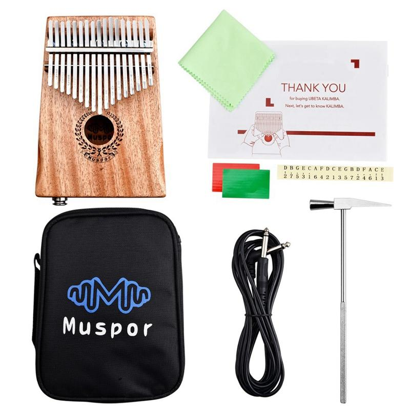 Muspor 17 Keys Mahogany Thumb Piano Speaker Electric Pickup Music Instrument With Bag + Cable