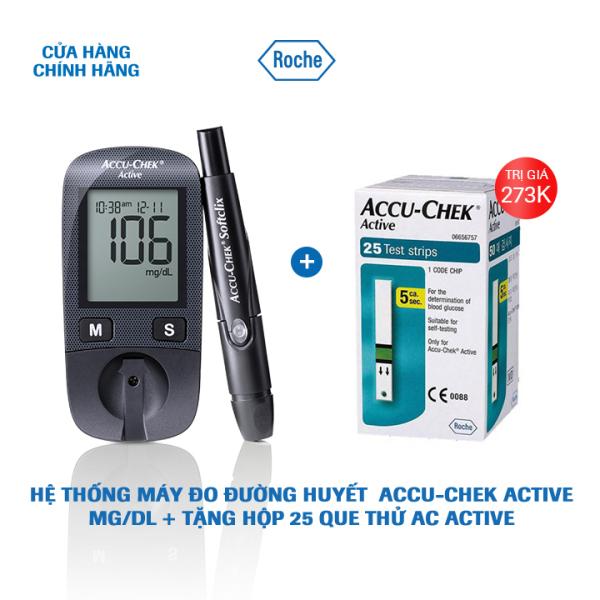 Nơi bán Hệ thống máy đo đường huyết Accu-Chek Active mmol/L + Tặng Hộp 25 que thử AC Active