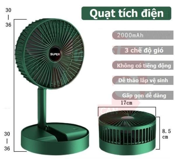 Quạt Super mini tích điện để bàn gấp gọn tiện dụng 3 cấp độ thời gian sử dụng tới 8 tiếng phân phối bởi Ucamart ( SIÊU BỀN )
