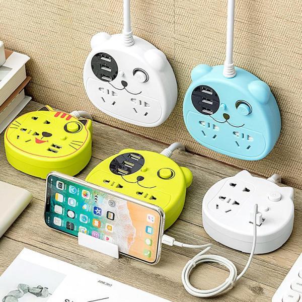 Ổ cắm đa chức năng cartoon M7 dễ dàng treo tường tiết kiệm không gian có nút nguồn , 2 cổng USB, kèm theo giá đỡ điện thoại cực tiện nghi, chất liệu chịu nhiệt giá rẻ