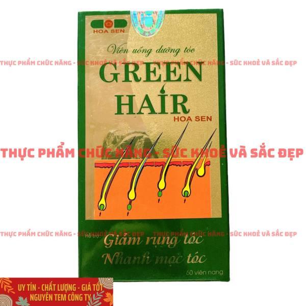 Viên Uống Dưỡng Tóc GREEN HAIR Hoa Sen - Giúp Giảm Rụng, Nhanh Mọc Tóc Đen - Lọ 60 Viên