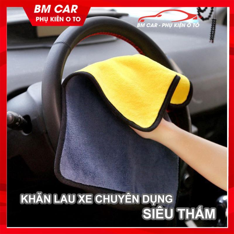[RẺ VÔ ĐỊCH] Khăn lau xe ô tô chuyên dụng SIÊU THẤM, KHÔNG BÔNG XÙ Microfiber size 30*30cm, phụ kiện ô tô giá rẻ