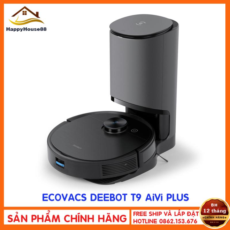 Robot hút bụi lau nhà Ecovacs Deebot T9 Aivi+ ( PLUS)- Tự xử lý rác khi vể sạc- Tặng App Ecovacs Home