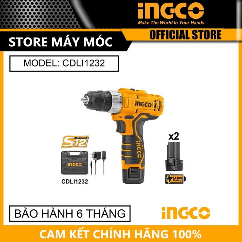 [HCM]Máy khoan vặn vít dùng pin Ingco CDLI1232 12V