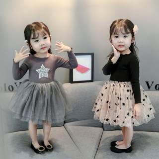 Váy voan xòe công chúa cho bé gái 6-16kg - Màu đen, ghi - Váy công chúa, váy voan bé gái, váy len bé gái, váy dài tay - Đầm công chúa, đầm xòe bé gái, đầm dạ hội - Shubishop.vn