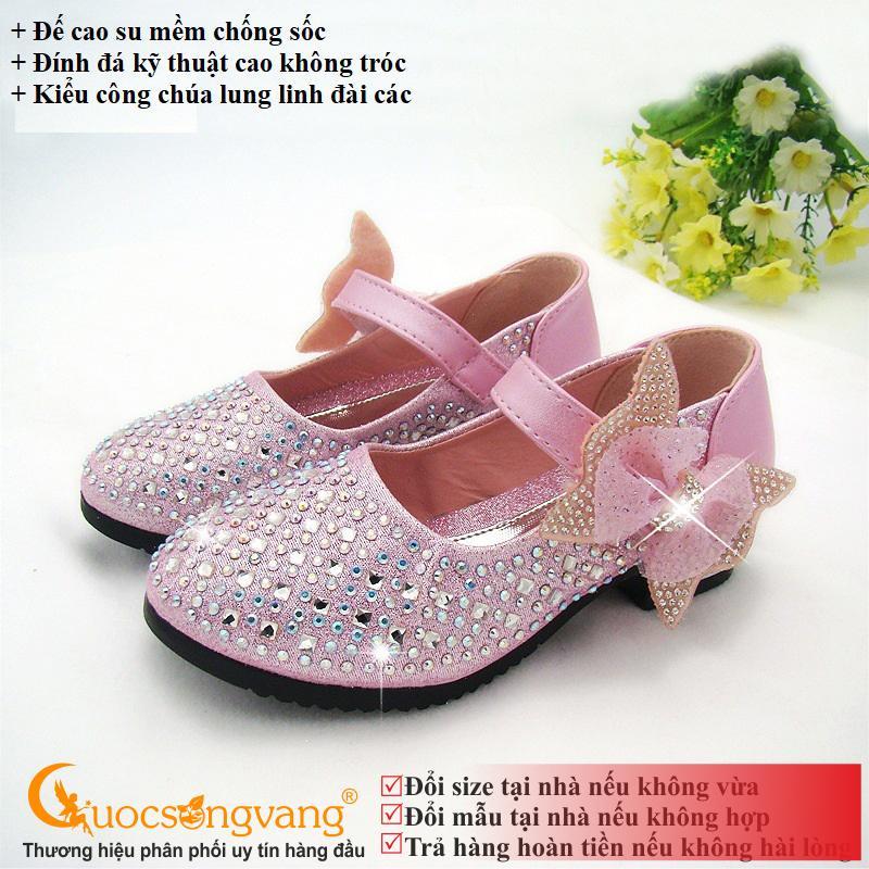 Giày bé gái công chúa giày công chúa bé gái đính đá GLG015 hồng đào