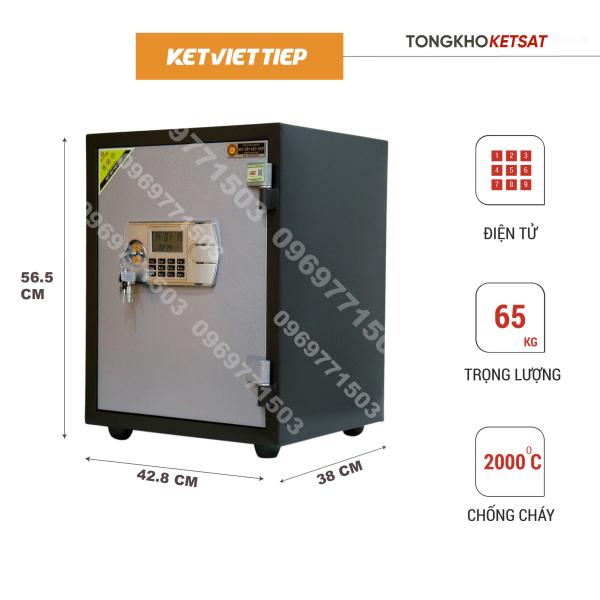 Két Sắt Việt Tiệp KCC450 Điện Tử Chống Cháy Cao Cấp Nặng 55KG (Bảo Hành 5 Năm) Đi