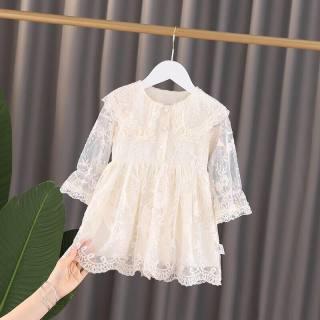 Đầm váy bé gái dài tay màu trắng chất ren cao cấp dày dặn mềm mai có cổ cúc trước cho bé gái từ 6kg đến 20kg
