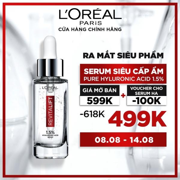 [Voucher giảm ngay 100K] Serum siêu cấp ẩm sáng da LOreal Paris pure Hyaluronic Acid 1.5% 30ml