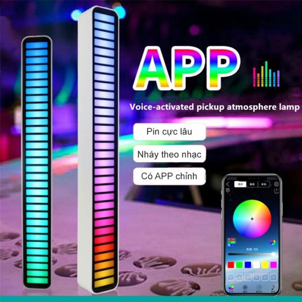 Bảng giá Thanh Đèn Led nháy theo nhạc đa sắc RGB, Đèn Led cảm ứng âm thanh quay clip Tiktok triệu view, Có app điều khiển, Pin sạc Siêu khỏe, Thanh Đèn Led cảm biến Chất liệu Aluminum dùng trang trí ô tô, máy tính