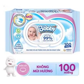 Khăn Giấy Ướt Bobby không hương 100 tờ cho bé thumbnail