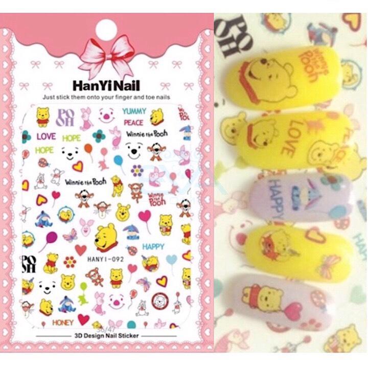 Miếng Dán Móng Tay 3D Nail Sticker Hoạt Hình Hoạ Tiết chú Gấu Pooh Hanyi092 tốt nhất