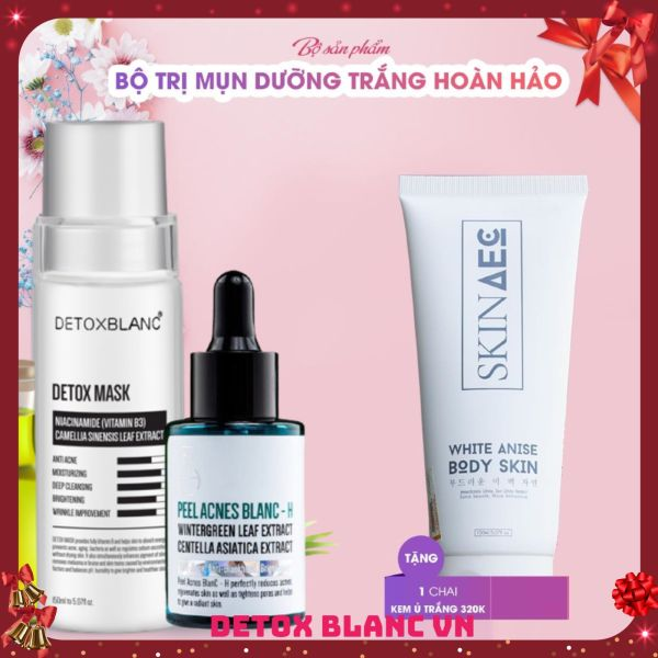 Combo trị mụn dưỡng trắng da tặng kèm ủ kích trắng than hoạt tính skin aec 150ml giá rẻ