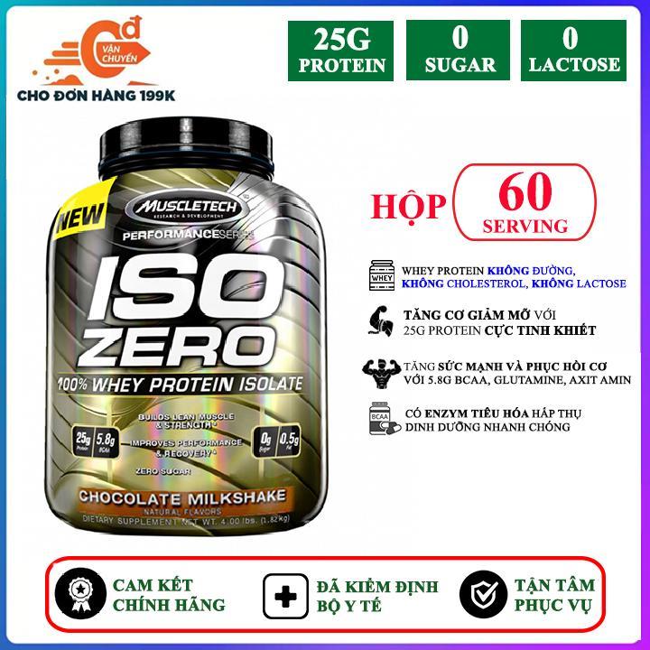 Sữa tăng cơ giảm mỡ cao cấp ISO ZERO của Muscle Tech hương Chocolate hộp 60 lần dùng hỗ trợ tăng cơ giảm cân đốt mỡ mạnh mẽ cho người tập gym và chơi thể thao