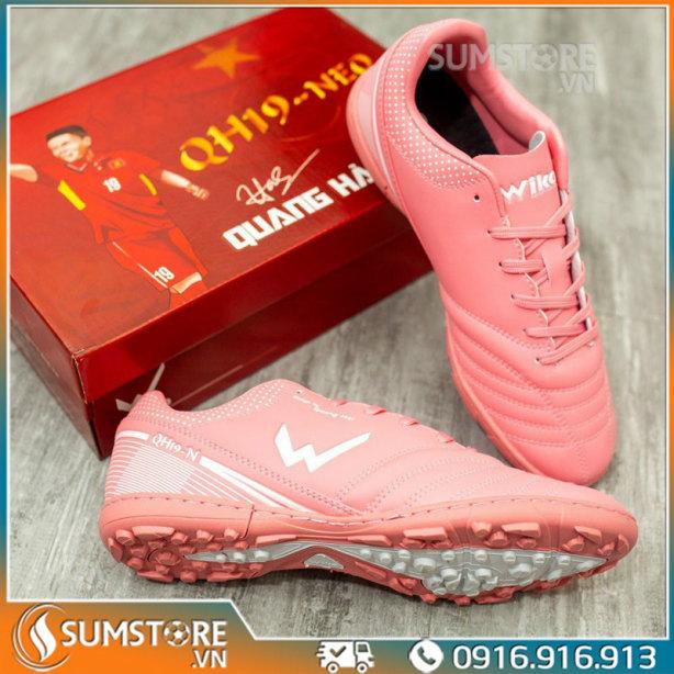 Giày Thể Thao Nam Đá Bóng Wika Quang Hải Cao Cấp - Hồng - Giày Đá Banh Mới 2021 (Tặng Kèm Vớ) giá rẻ