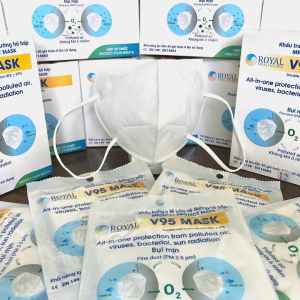Khẩu trang y tế V95 giúp kháng khuẩn và lọc bụi mịn Đạt Tiêu Chuẩn ISO Và Kiểm Định Bộ Y Tế