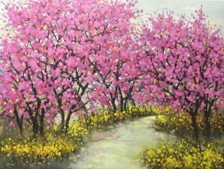 Tranh phong cảnh con đường hoa đào nở vintage kèm khung tranh thumbnail
