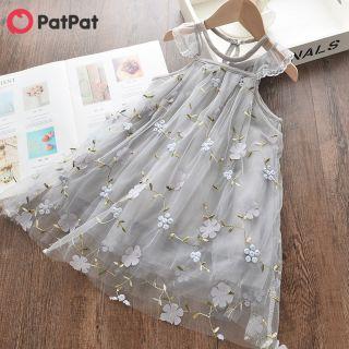 Patin Không Tay Váy Thêu Hoa Đẹp Váy Vải Tuyn Cho Bé Gái Tập Đi & Kid -Z