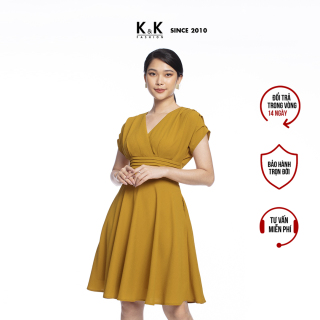 Đầm Công Sở Nữ Dáng Xòe K&K Fashion KK106-15 Vàng Eo Xếp Ly thumbnail