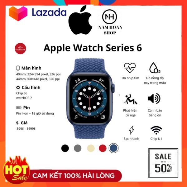 [NewSeal] Đồng Hồ Thông Minh - Apple Watch Series 6 LTE - Viền Nhôm - Dây Cao Su - Chống Nước - Màn Oled - Nghe Gọi Trực Tiếp - Đo Nhịp Tim - Phát Hiện Té Ngã - La Bàn - Phù Hợp Mọi Lứa Tuổi, Giới Tính - Năng Động, Thời Trang