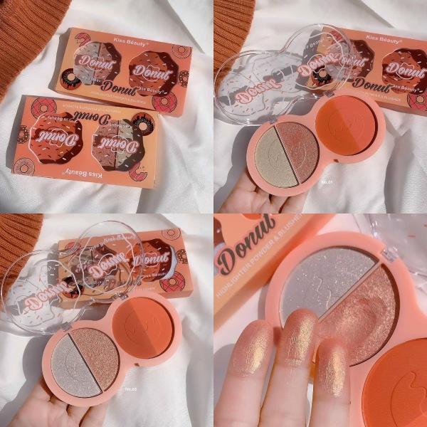 Má hồng & Bắt sáng 4 ô Donut Kiss Beauty