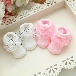Vớ cotton mềm mại đính ren bèo siêu dễ thương cho trẻ sơ sinh - INTL