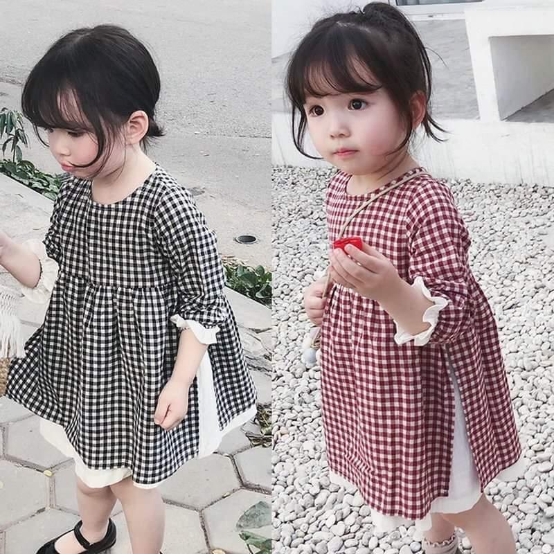 Giá bán Đầm caro cho bé gái từ 1 đến 5 tuổi