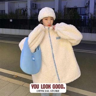 Áo Khoác Nỉ Nữ Lông Cừu ChiBi Dài Tay Khóa Kéo thumbnail