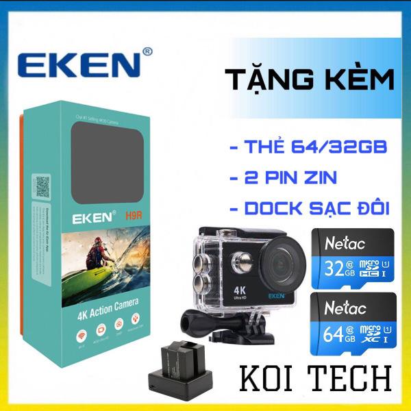 [TẶNG THẺ NHỚ 64GB] Camera 4k Eken H9r bản mới V8 nâng cấp 20MP Tặng 1 pin và 1 dock sạc đôi - camera wifi ip xe máy oto phượt chống nước chống sốc chống rung - camera hành trình phượt mini