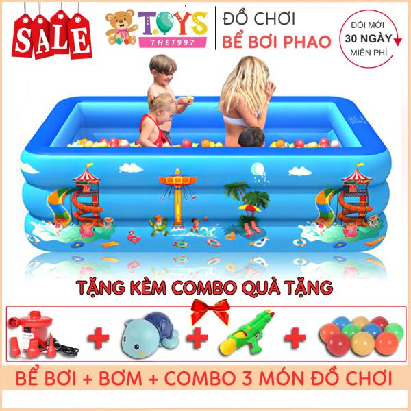 [Tặng Bơm + Đồ chơi] Bể bơi phao 3 tầng 1m2 - 1m3 - 1m5 - 1m6 - 1m8 - 2m1 - 2m6 - 3m05, TẶNG KÈM miếng vá, Bơm điện, đồ chơi trị giá 85k -  hồ bơi chống trơn trượt bền bỉ, chất liệu PVC an toàn với trẻ nhỏ - The 1997