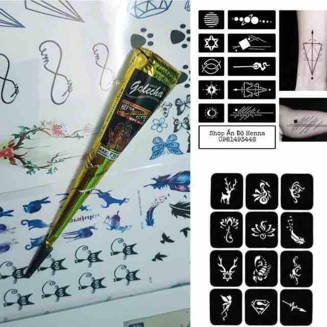 Mua 1 tuýp mực henna ấn độ + 2 tấm khuôn a4 ( InBOX để chọn màu mực và khuôn mẫu)