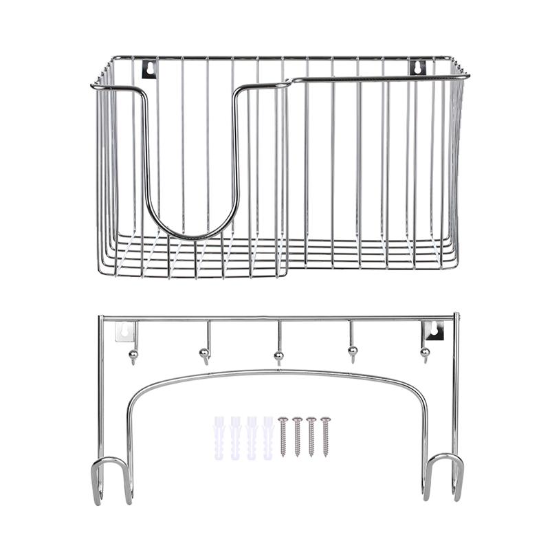 Offer Giảm Giá 2 In 1 Wall-Mounted Ironing Board Bracket Storage Iron Rack Storage Basket Metal Rack Ironing Board Storage Hook Household Storage Box