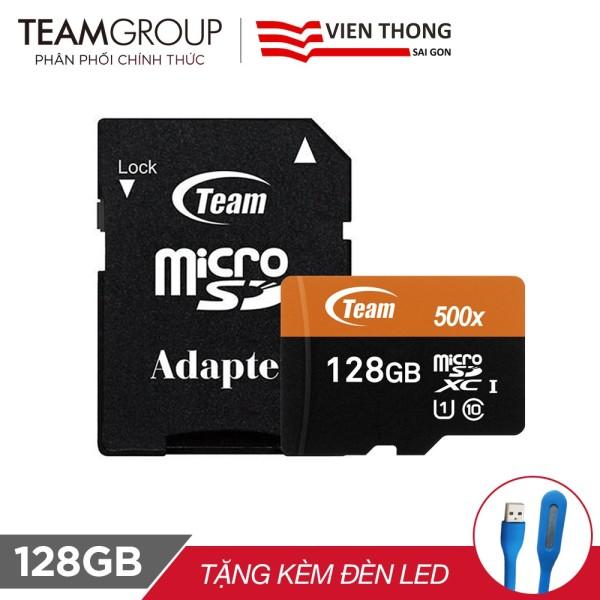 Thẻ nhớ micro SD Team 128gb 500X Upto 80Mb/s C10 UHS tặng kèm đèn led usb (màu ngẫu nhiên)