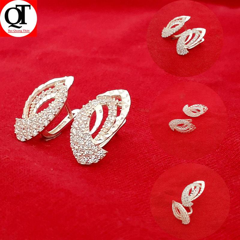 Bông tai nữ Bạc Quang Thản, khuyên tai nữ đeo sát tai phay sáng bóng chất liệu bạc thật không xi mạ, không gỉ, không  gây kích ứng da, dễ kết hợp trang phục, thích hợp đeo thời trang làm quà tặng - QTBT19