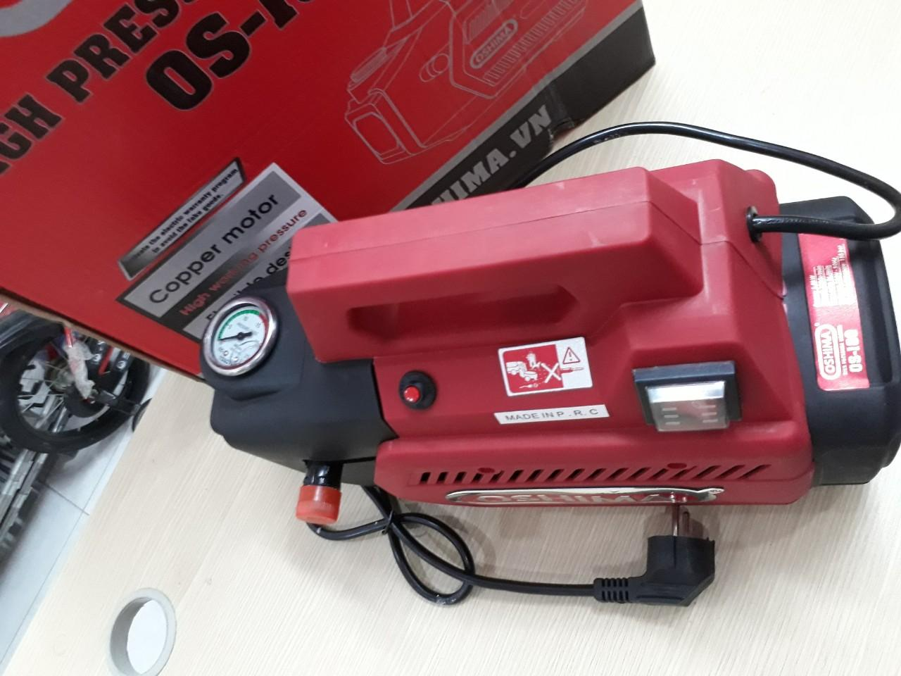 Máy rửa xe phun xịt cao áp OSHIMA OS - 180 với áp lực tối đa 180 bar cho lực phun mạnh mẽ.