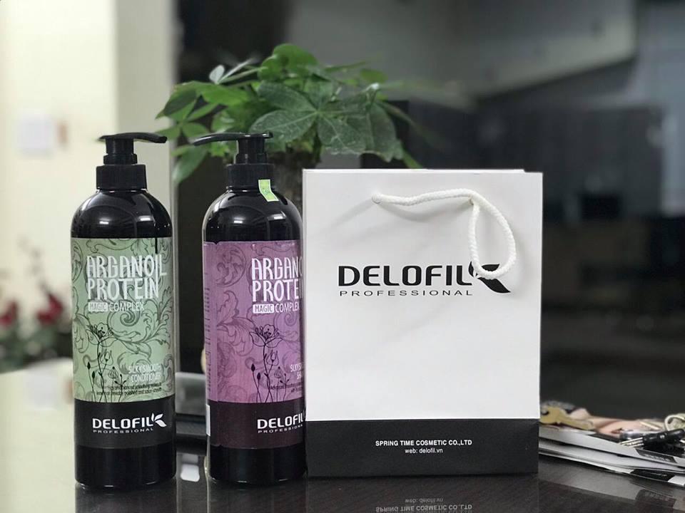 Cặp Dầu Gội Dầu Xả Delofil Arganoil Protein Trị Gàu, Siêu Mượt 800ml x 2 - Ý