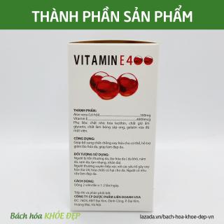 Viên Uống đẹp da Vitamin E Đỏ 4000mcg, Aloe vera 500mg chống lão hóa - Hộp 100 viên chống lão hóa da 3