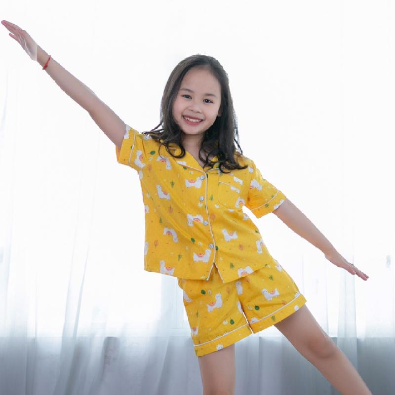 Nơi bán Đồ bộ mặc nhà Pijama bé gái màu vàng họa tiết con lạc đà
