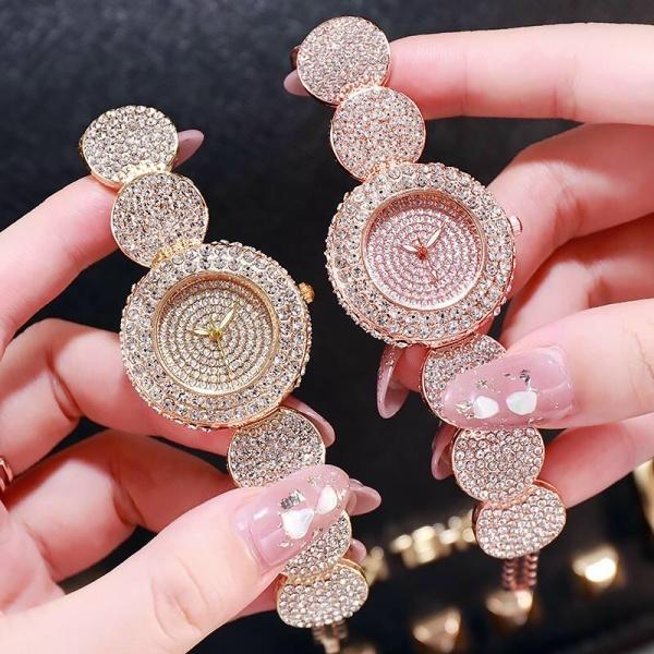 Nơi bán Đồng hồ thời trang nữ Luobos Lb1 mặt tròn đính đá siêu đẹp 1c3