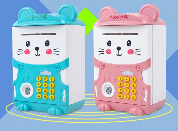 Két Sắt Mini Hình Mèo Có Nhạc Và Cảm ứng Dấu Vân Tay Cho Bé Nhiều Màu Kute