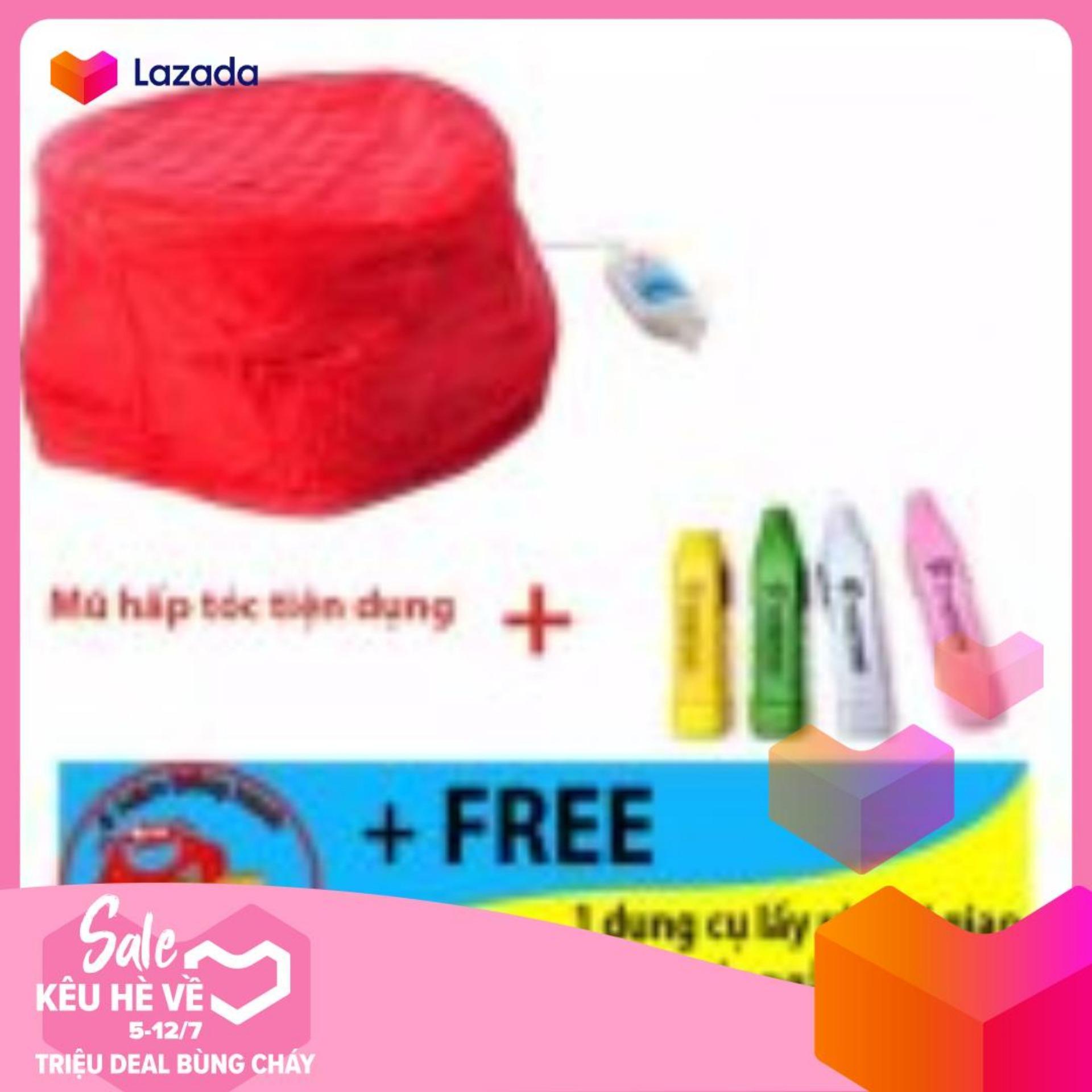 Mũ hấp tóc đỏ tiện dụng + Free 1 dụng cụ lấy ráy tai giao màu sắc ngẫu nhiên tốt nhất