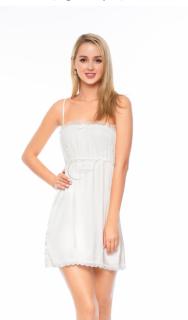 Dreamy VX10 - Váy ngủ lụa cao cấp, váy ngủ lụa phối ren ngực quyến rũ, váy ngủ sexy, váy ngủ gợi cảm, váy ngủ dáng xòe màu trắng thumbnail