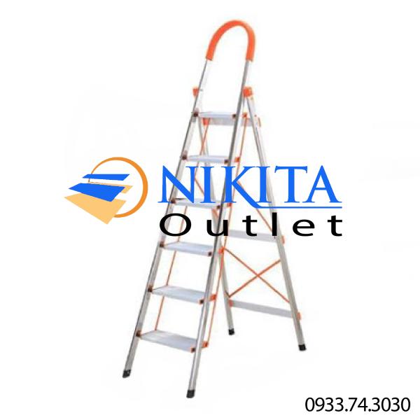 Thang ghế tay vịn Inox [NIKITA] - IN06 (6 bậc) - Tiêu chuẩn an toàn Châu Âu EN131 - Bảo hành chính hãng 12 tháng