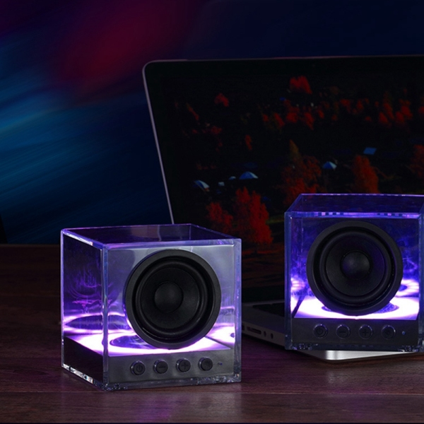BTS-630 Wireless Bluetooth Speaker Subwoofer Portable Colorful Lighting Crystal Glazed Transparent Outdoor Bass