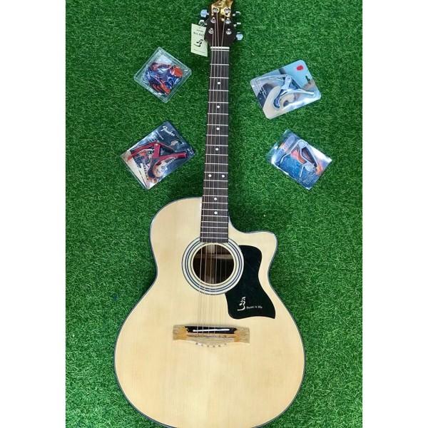 Cây đàn GUITAR phổ thông cho người mới tập - Đàn Guitar Acoustic J100 - Phím êm bấm nhẹ kgoong đau tay