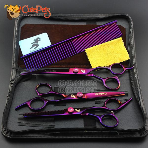 Bộ kéo spa 3 kéo + 1 lược cắt tỉa lông cho chó mèo chuyên dụng