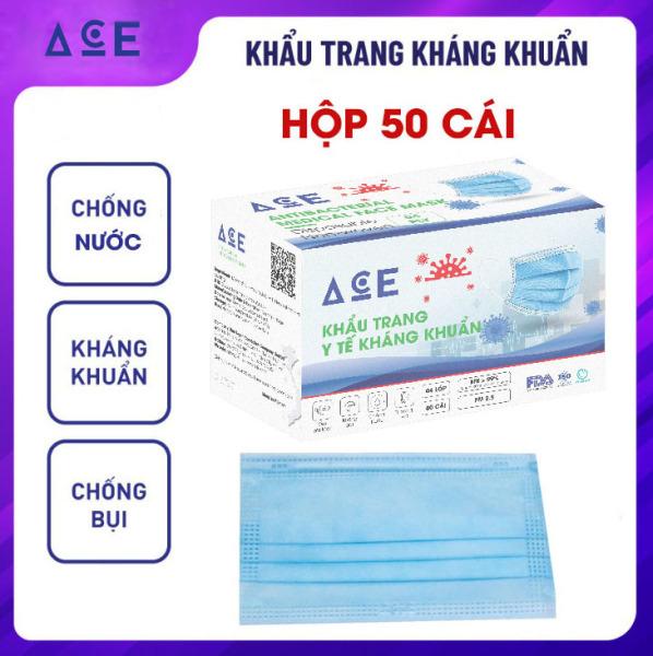 Khẩu trang y tế 4 lớp hộp 50 cái ACE kháng khuẩn, lọc bụi mịn, chống thấm, thoáng khí, ôm sát mặt