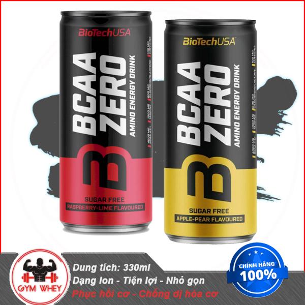 Dinh Dưỡng Hổ Trơ Phục Hồi Cơ Bắp Dành Cho Người Tập Thể Thao BIOTECH BCAA ZERO ENERGY DRINK LON 330ML
