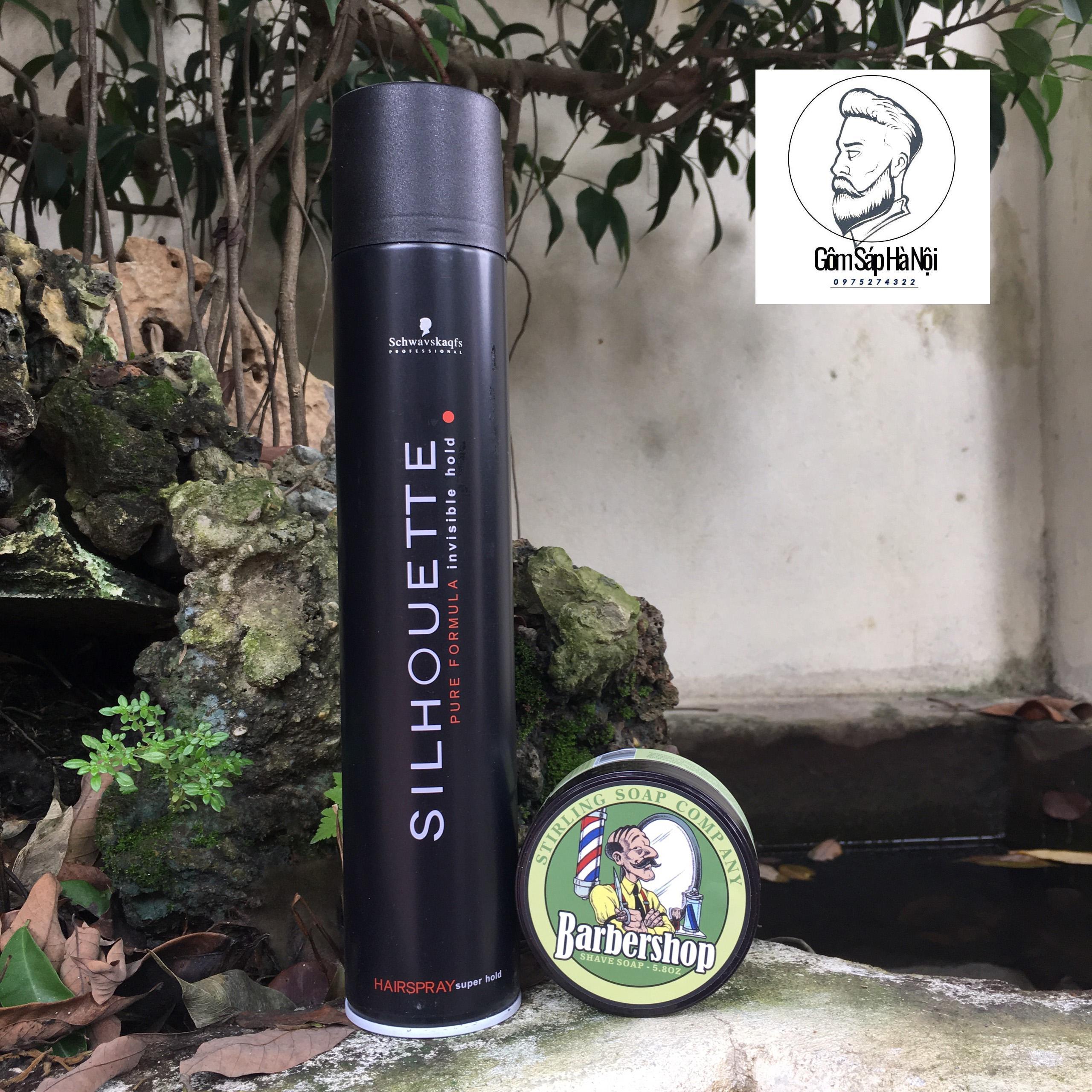 Deal Khuyến Mại Combo  Gôm Xịt Tóc Silhouette 400ML + Sáp Vuốt Tóc BarberShop Shave Soap